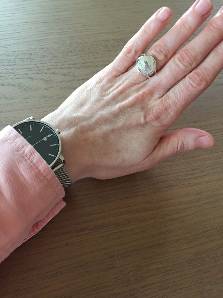 gepersonaliseerde ring met vingerafdruk