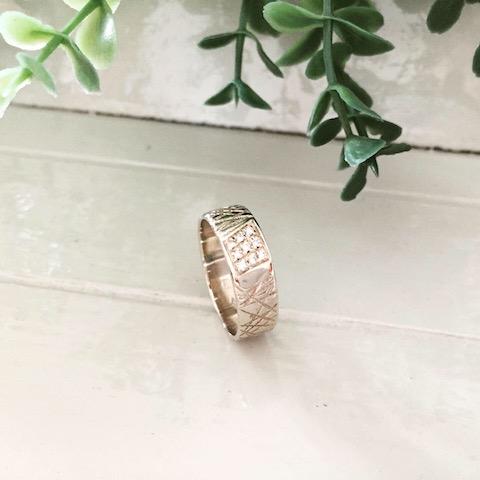 Structuurring wit goud diamant