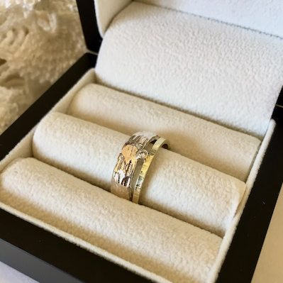 Ring combinatie goud zilver en diamant