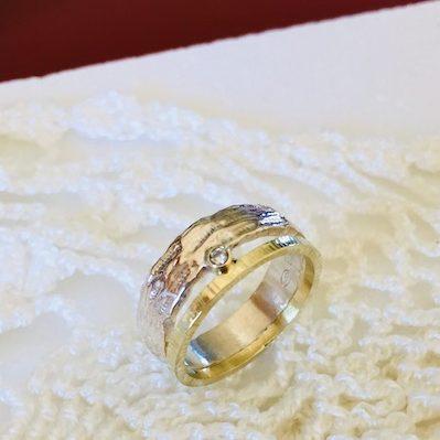 Ring combinatie zilver goud diamant