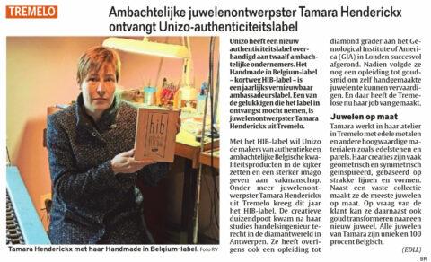 Handmade in Belgium label Tamara Henderickx